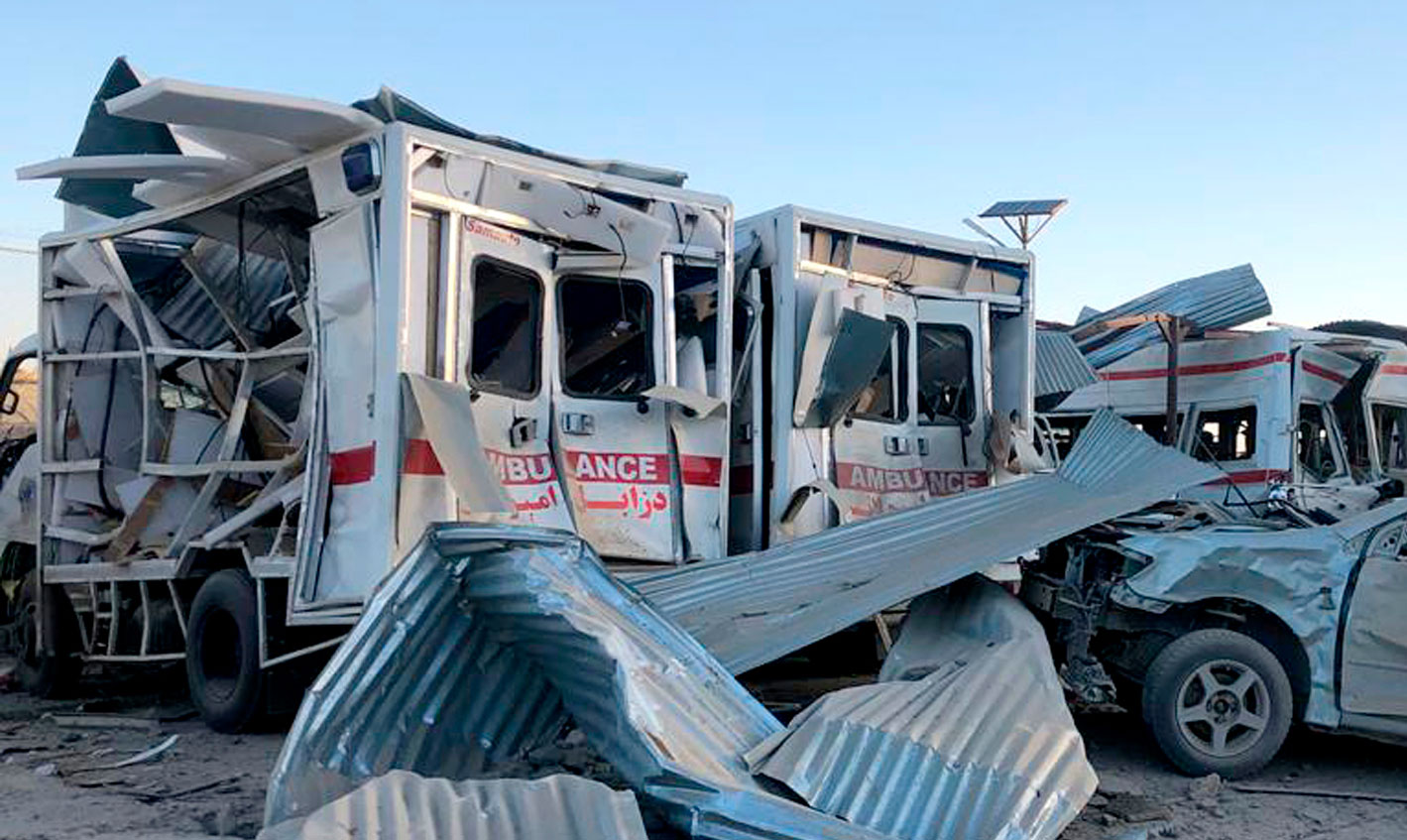 The mangled remains of an ambulance lie at the site of the Taliban truck bomb near a hospital in Qalat, Afghanistan, on Thursday.