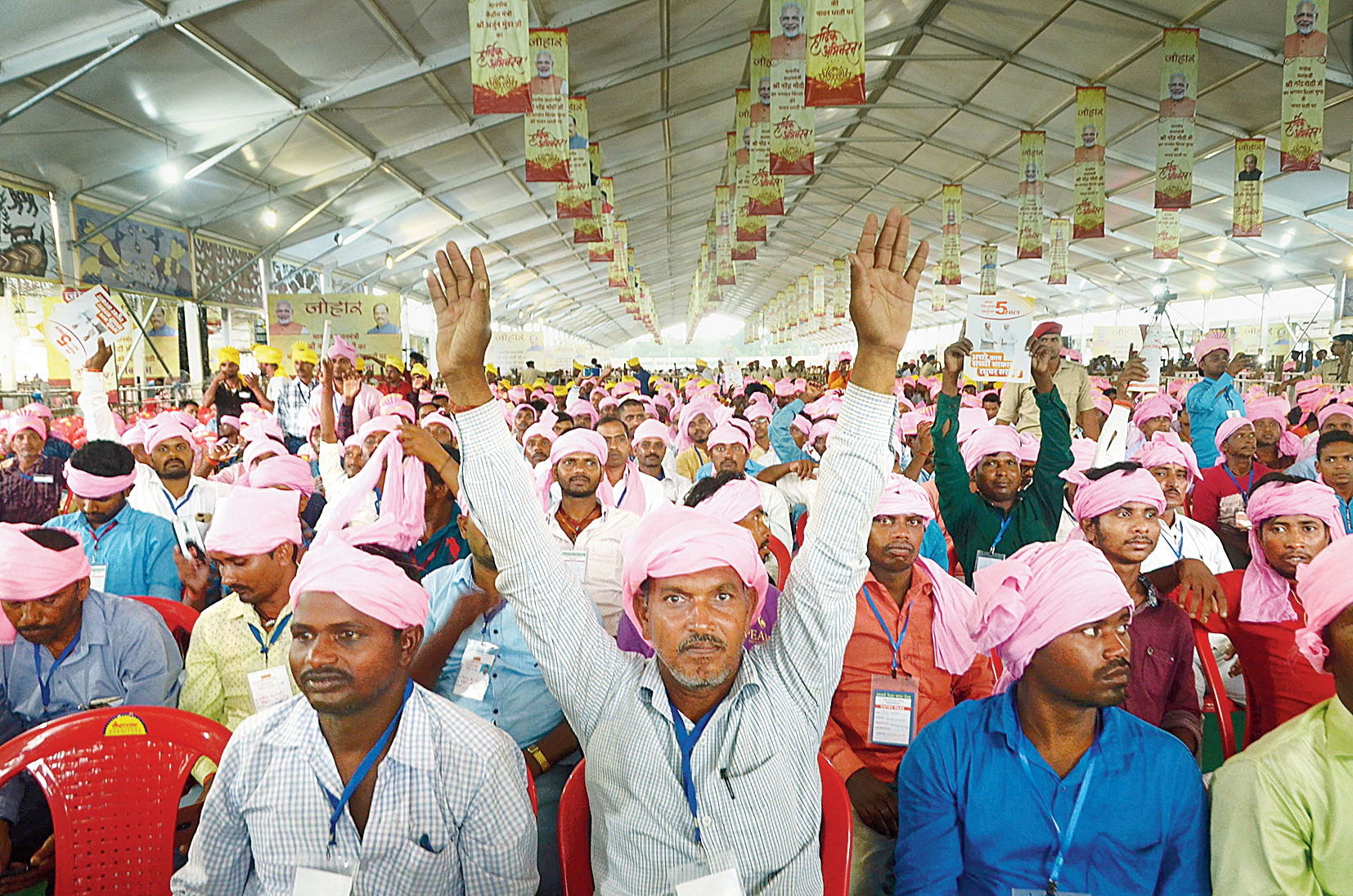 Farmers at the PM's event at Prabhat Tara ground