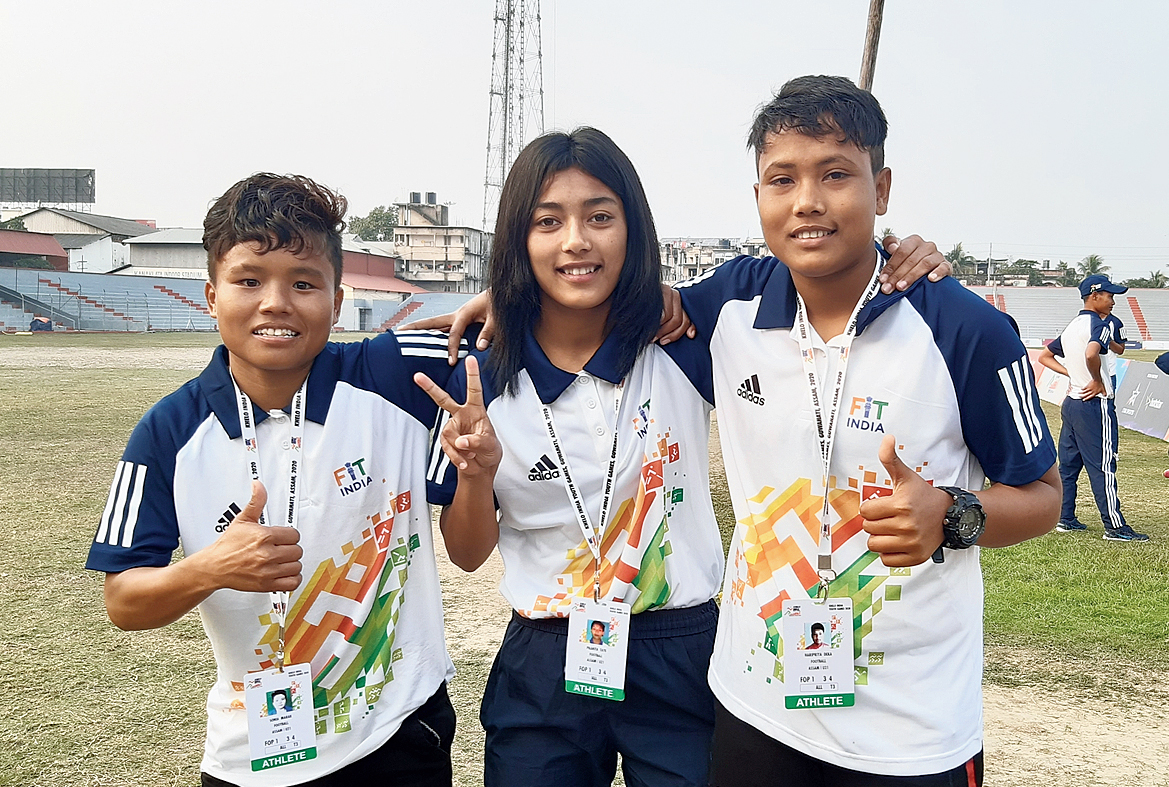 (From left) Sonia Marak, Promita Taye and Haripriya Deka at Nehru Stadium in Guwahati.