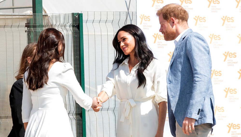Prince Harry and Meghan, the Duchess of Sussex, at Johannesburg on Wednesday