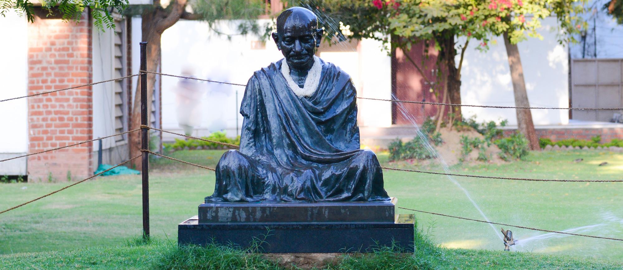 A statue of Mahatma Gandhi on display at Gandhi Ashram