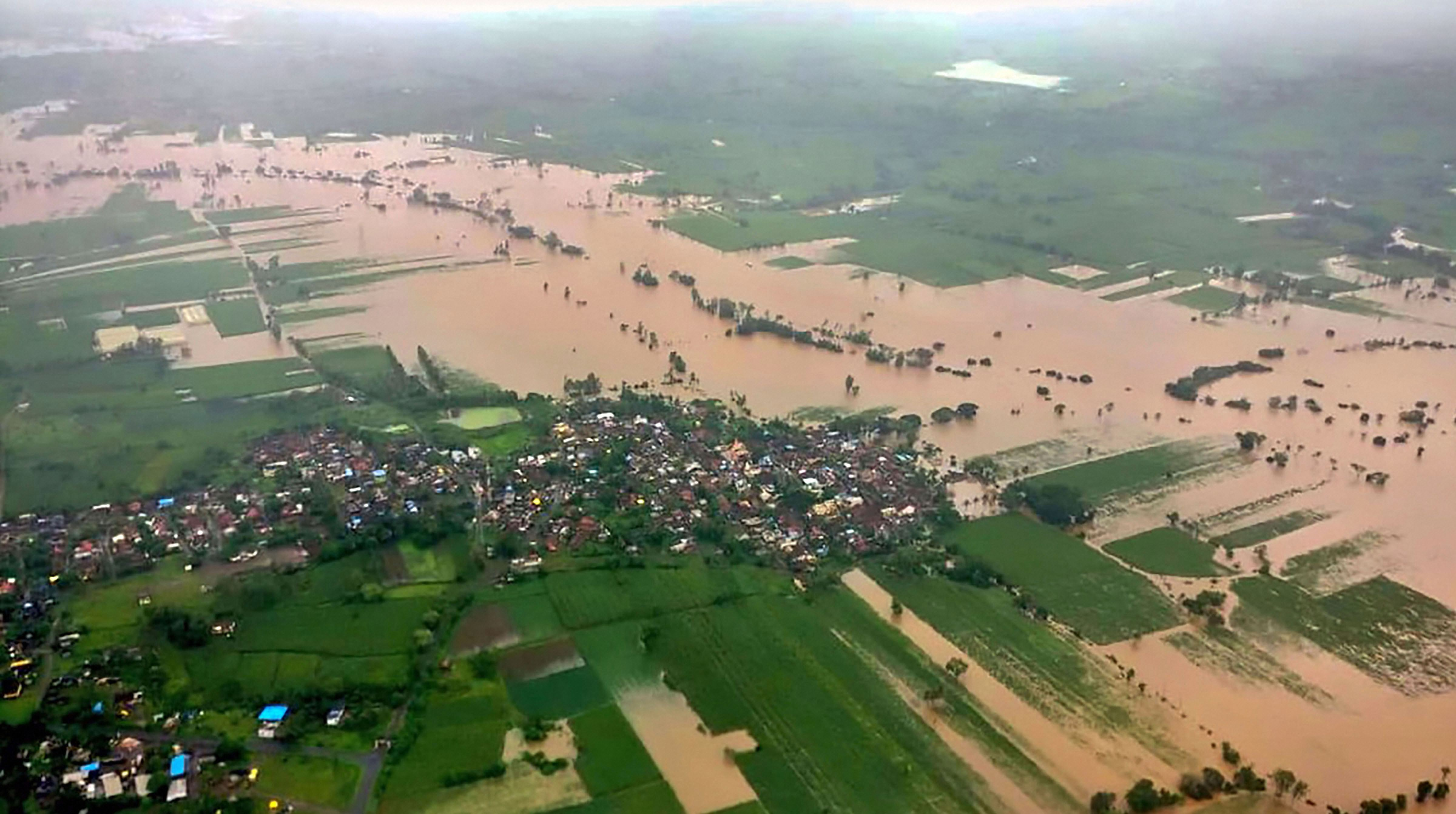 An aerial view of a part of Kolhapur, one of the worst flood-hit districts in Maharashtra, on August 8.