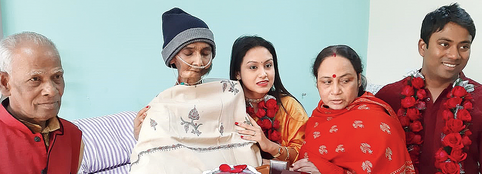 Deotima with her father Sandip Sarkar at the hospital, along with her mother Sudipta, husband Sudipta Kundu and father-in-law Madan Chandra Kundu (extreme left) on Tuesday
