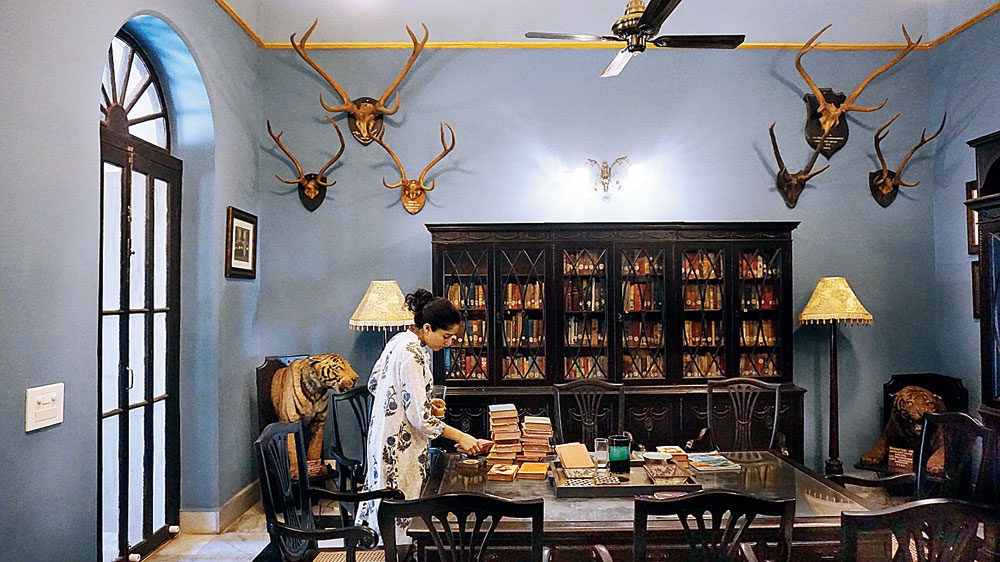 Akshita Manjari, the daughter of the current owner of the Belgadia Palace, Praveen Chandra Bhanj Deo, in the palace library