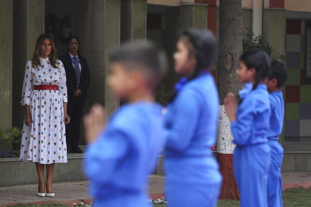 US First Lady Melania Trump watches children perform yoga at Sarvodaya Co-Educational Senior Secondary School in New Delhi