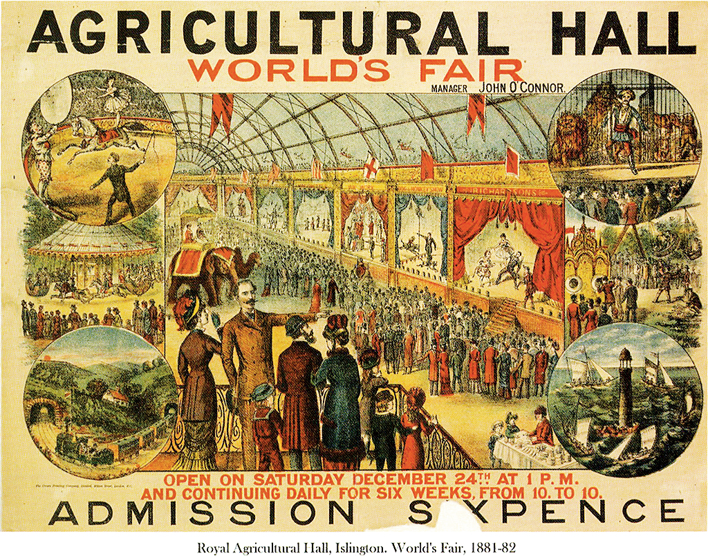 First record of his performance in Europe, at the 1881 World's Fair (top right circle)