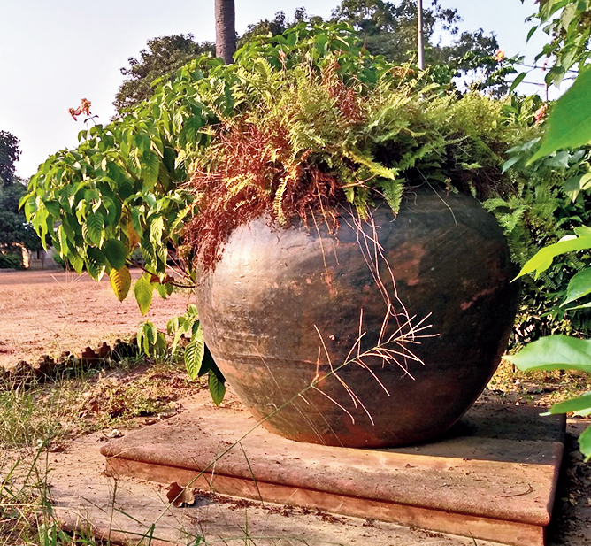 One of the ceramic pitchers at the Uttarayan complex in Santiniketan.