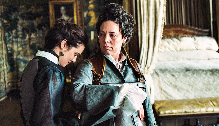 Rachel Weisz (left) and Olivia Colman in The Favourite