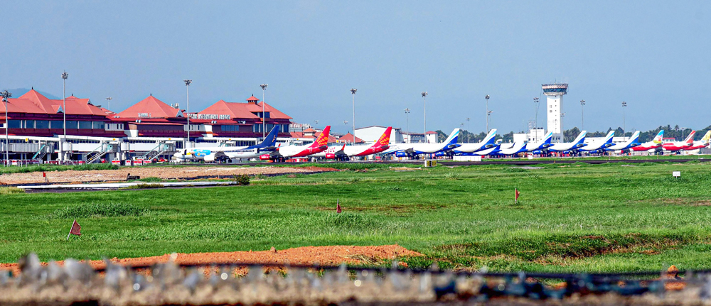 Planes stand parked at Kochi airport during the ongoing Covid-19 nationwide lockdown, in Kochi, Wednesday, May 6, 2020. NRIs stranded in various countries due to coronavirus lockdown are expected to arrive tomorrow onwards.