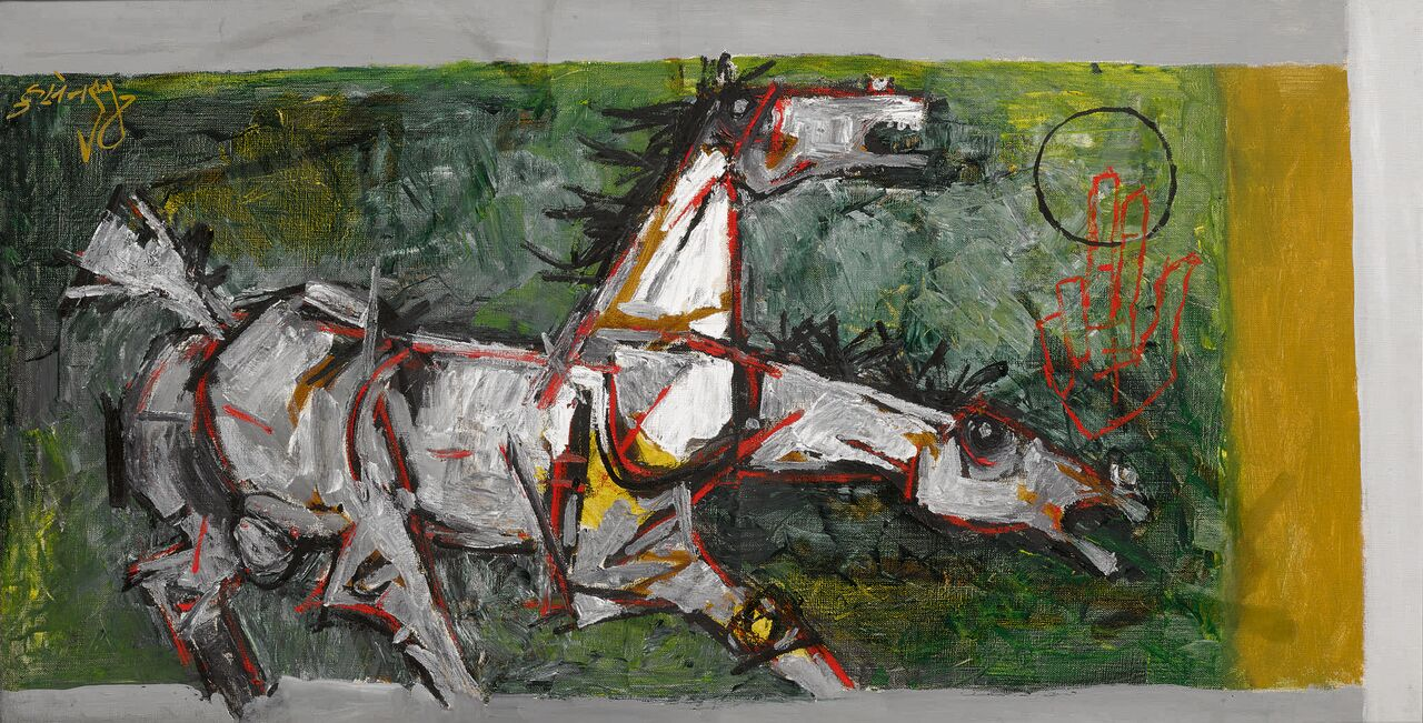 Untitled (Horses), oil on canvas, by Maqbool Fida Husain. Estimate: $120,000-180,000
