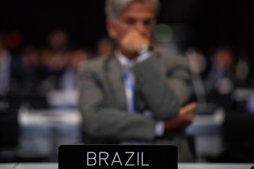 A member of the Brazil delegation during the closing plenary at the COP25 summit in Madrid on December 15