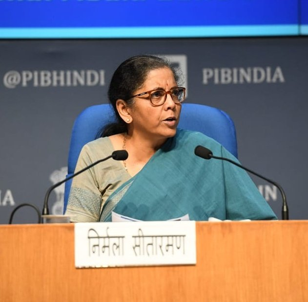 Finance minister Nirmala Sitharaman at a presee briefing to announce the fifth tranche of economic package provided by the government, in New Delhi, Sunday, May 17, 2020.