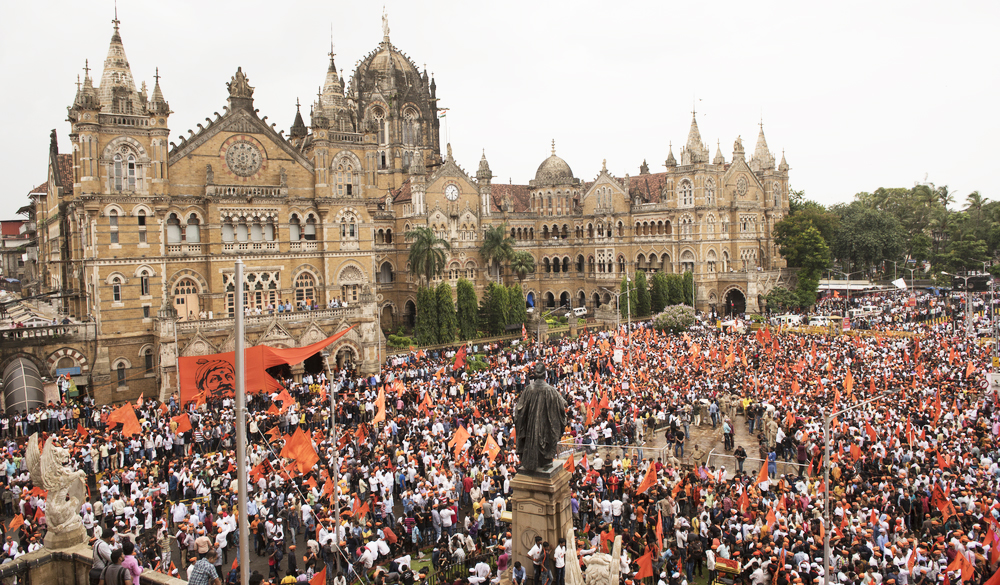 Maratha Kranti Morcha marching in front of Chhatrapati Shivaji Terminus demanding reservations for the Maratha community in jobs and educational institutions