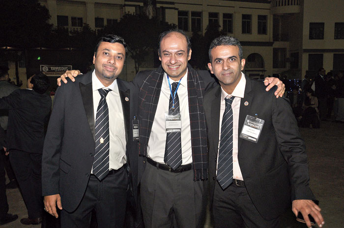 "Shiv Siddhant Kaul (centre), secretary, ALSOC, posed with Amish Raja (extreme right) and Anand Agarwal. ""Fifty years ago, a group of young men — who called themselves old boys — founded this body and initiated activities like free health check-up and running an evening school on the campus. Today, we celebrate that bond and togetherness,"" said Kaul."