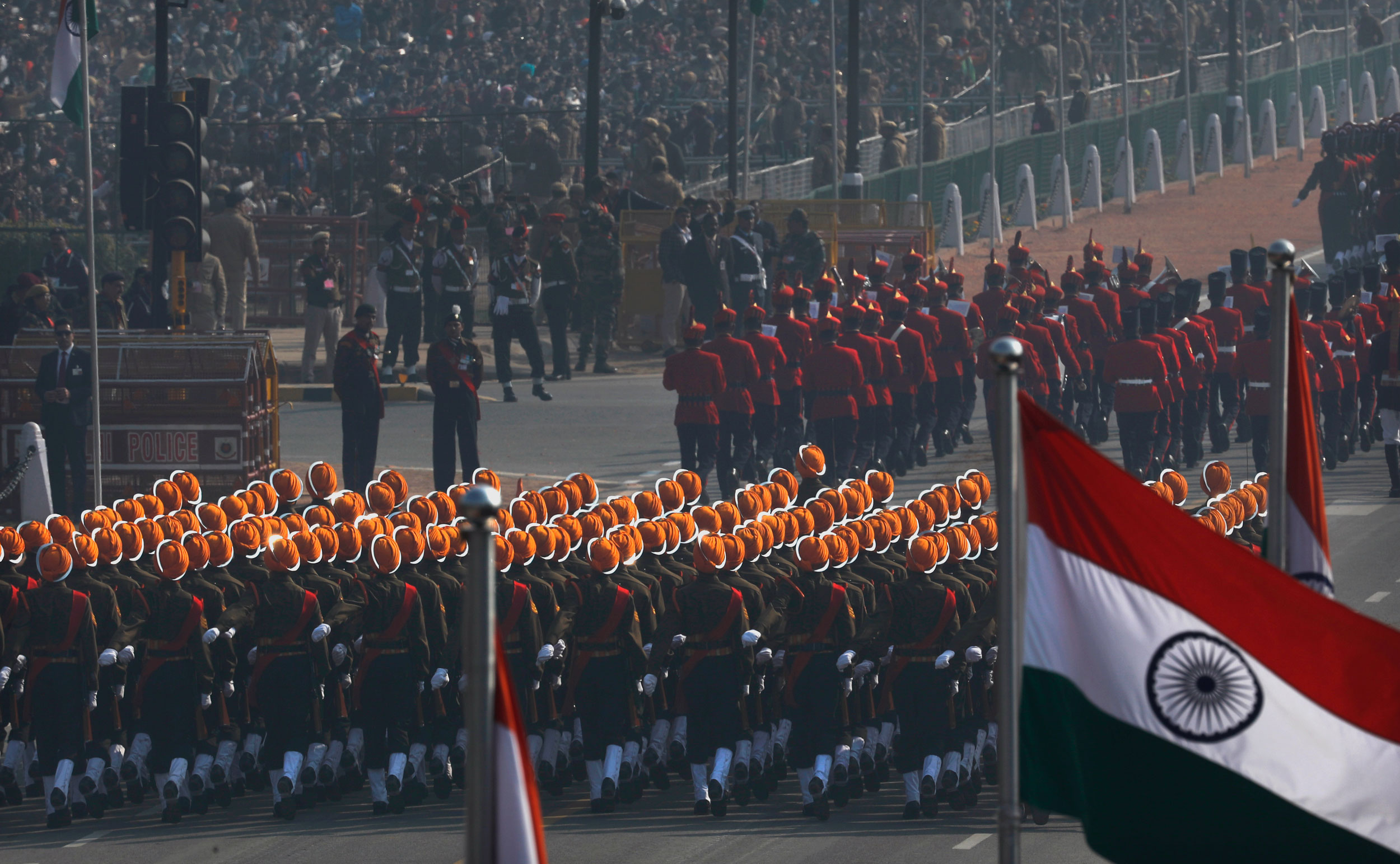 The Indian Republic Day parade at Rajpath in New Delhi on Sunday.