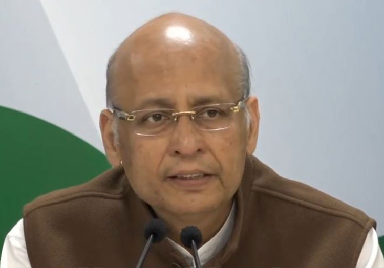 Congress spokesperson Abhishek Singhvi at a press briefing on Tuesday.