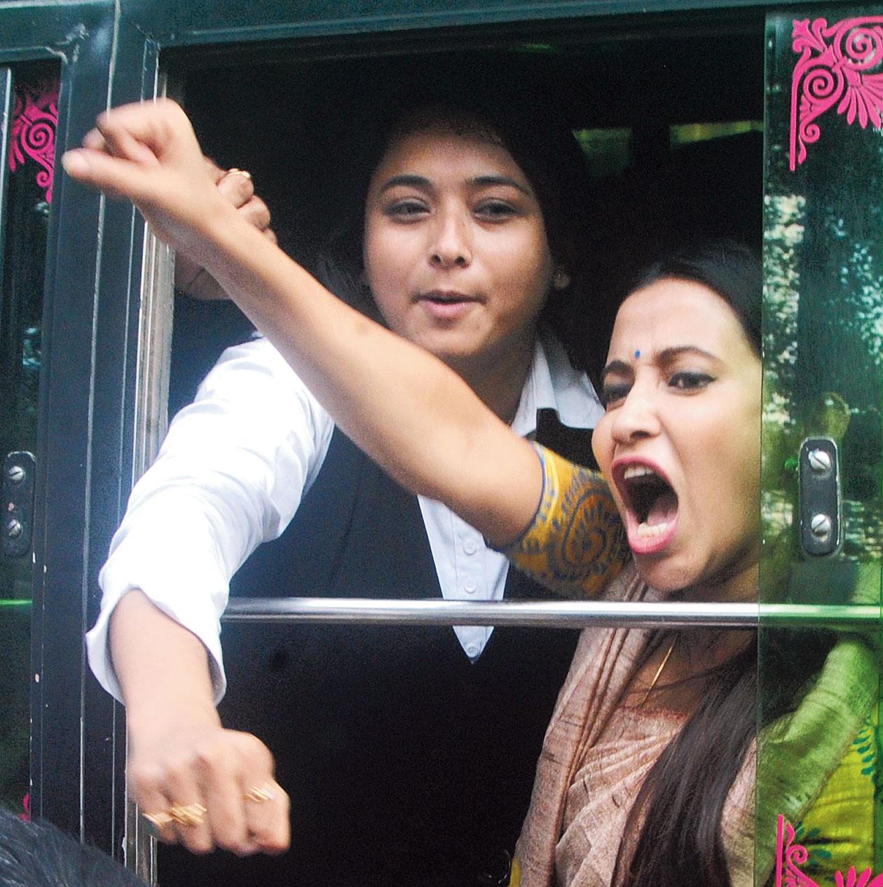 Actress Barsha Rani Bishaya after her arrest during the AASU satyagraha rally in Guwahati on Tuesday