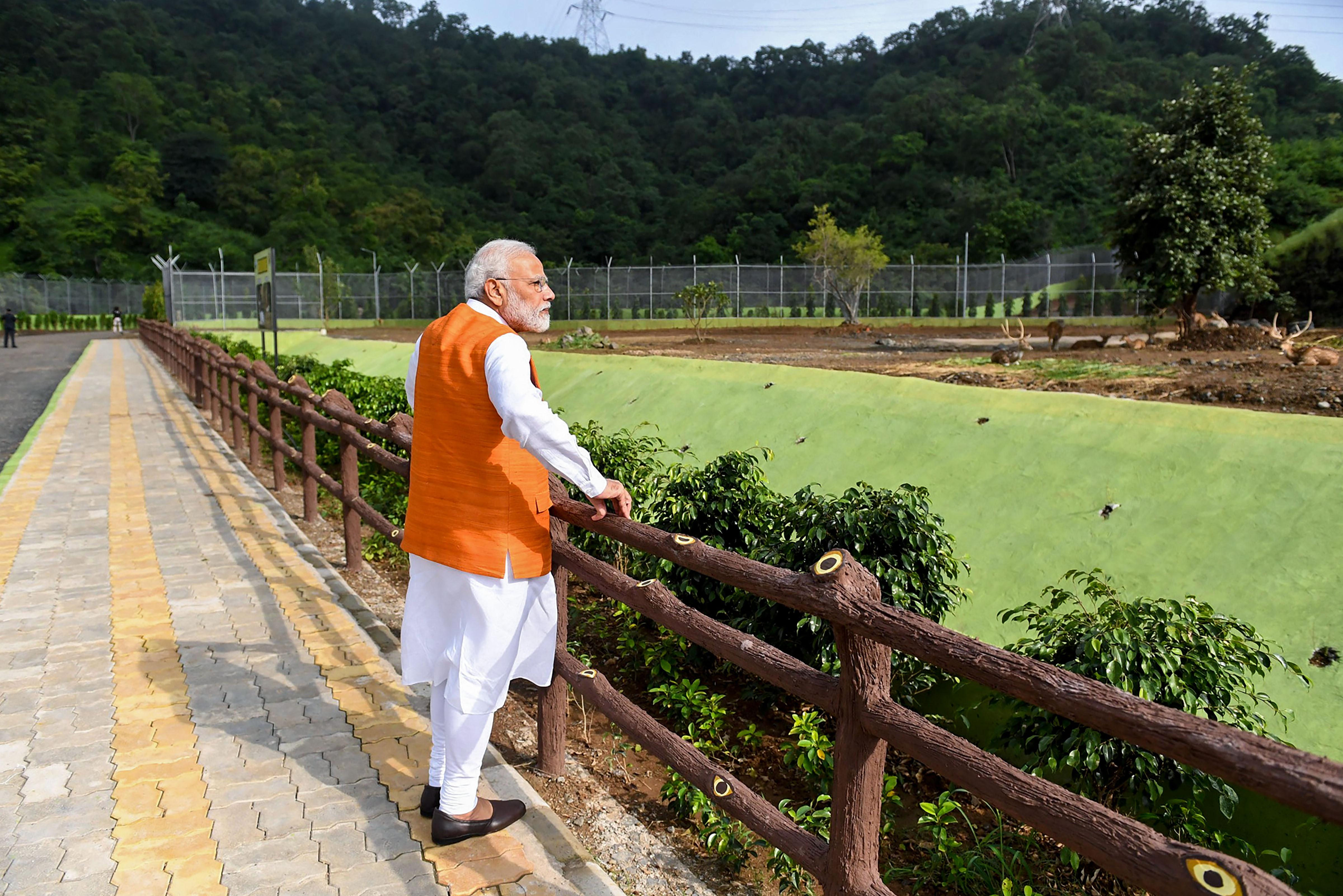 Prime Minister Narendra Modi at a river rafting facility on his 69th birthday in Kevadia, Gujarat, on September 17.