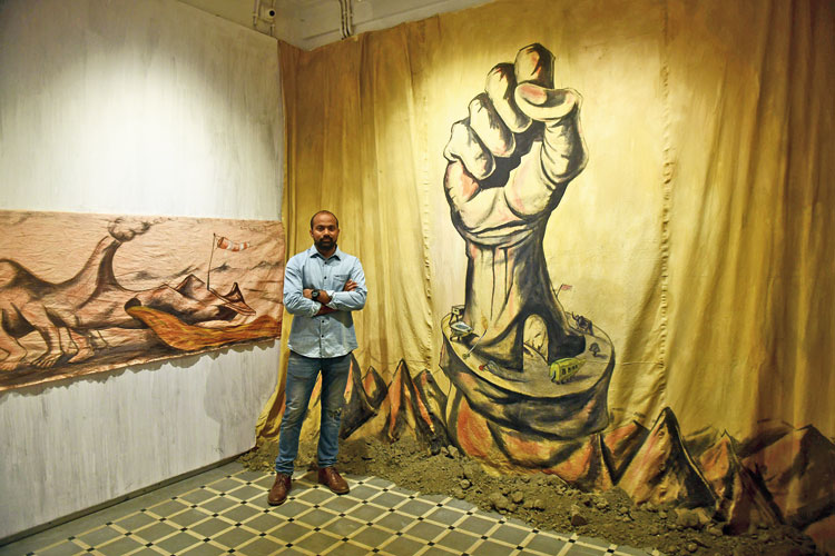 Prabhakar Pachpute at Experimenter Gallery. Picture by Bishwarup Dutta