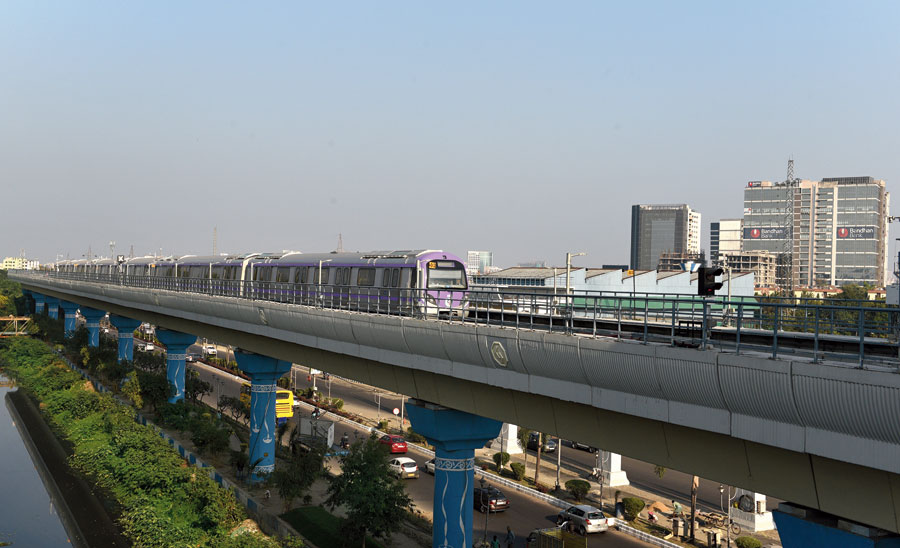 An East-West Metro train undergoes a trial run at Sector V on Tuesday