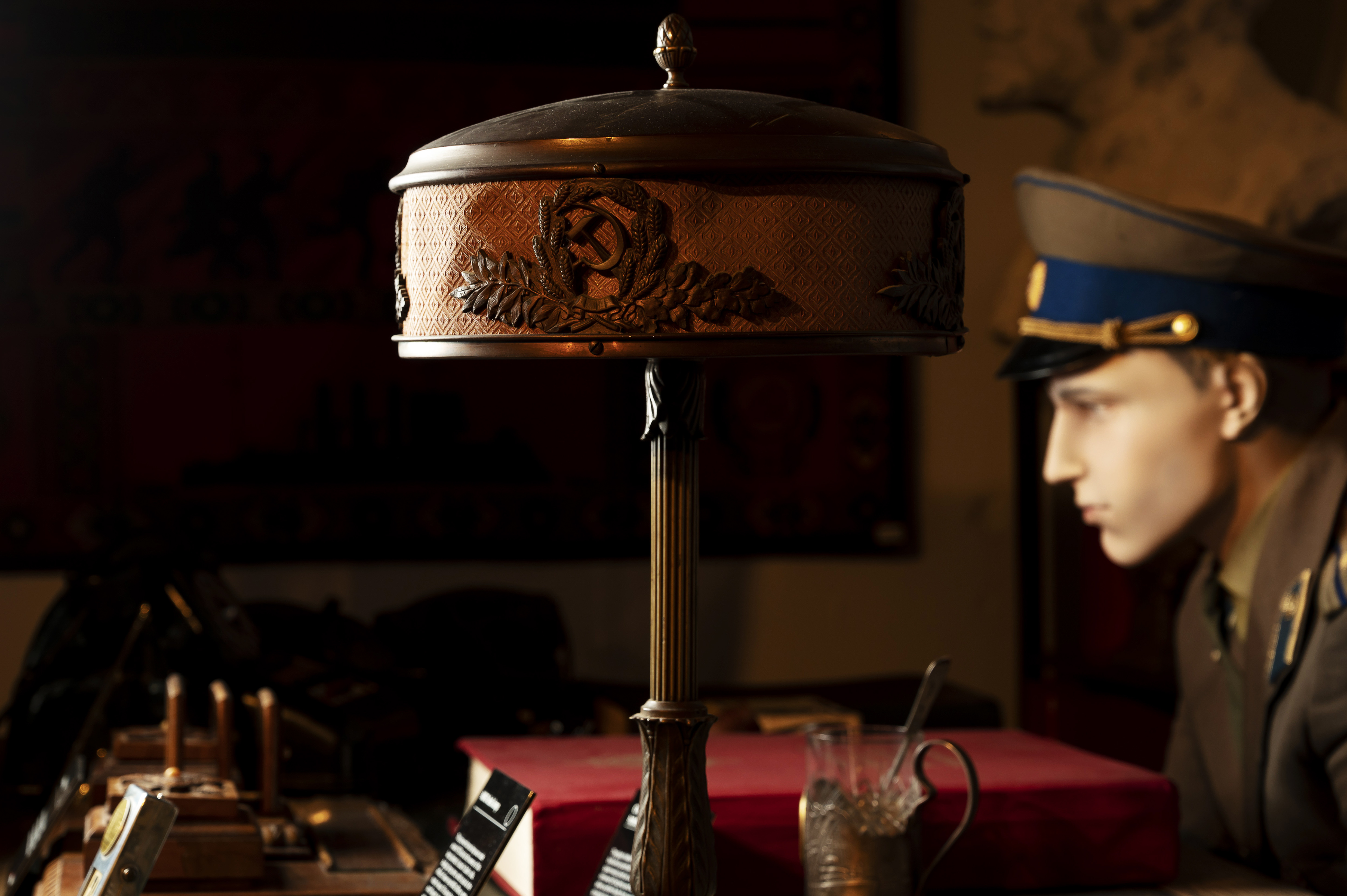 A bronze desk lamp (circa 1920), which, according to the curators, sat in a villa belonging to Soviet dictator Joseph Stalin, at the KGB Spy Museum.