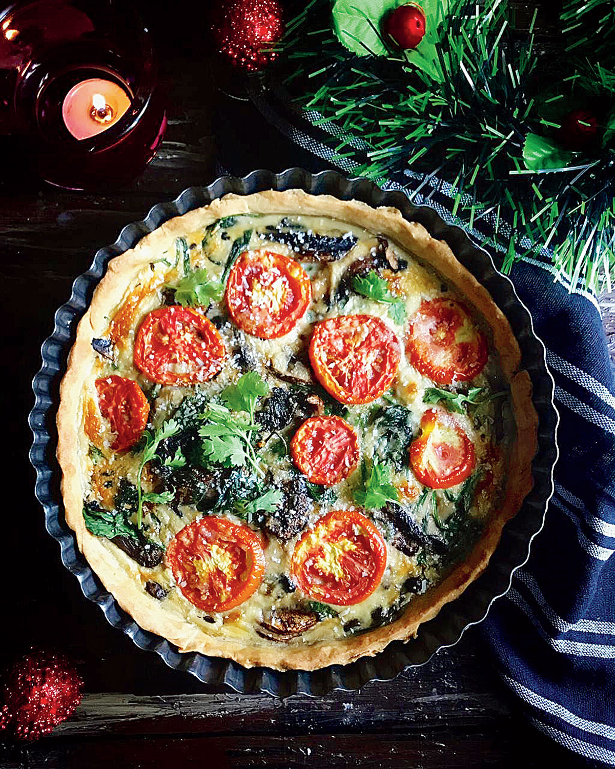 The Portobello Mushroom, Baby Spinach and Roast Tomato Quiche is in the colours of Christmas — red, white and green