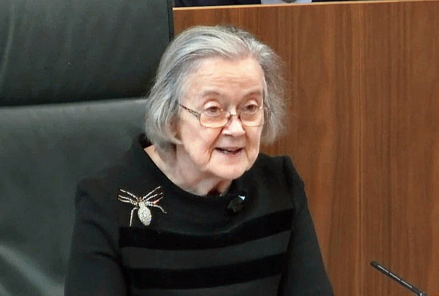 The president of the Supreme Court, Lady Hale, reading the judgment in the court in London, on Tuesday.