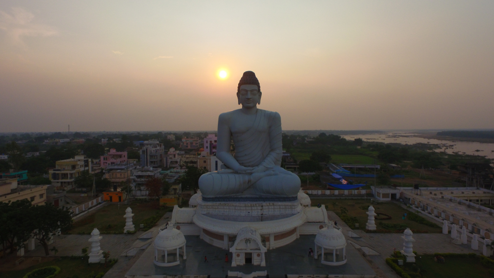 A statue of the Buddha towers above Andhra Pradesh's capital, Amaravati. The AP government, in a blatant violation of the 50 per cent cap on reservations prescribed by the Supreme Court, has made it mandatory for industries in the state to reserve 75 per cent jobs for locals