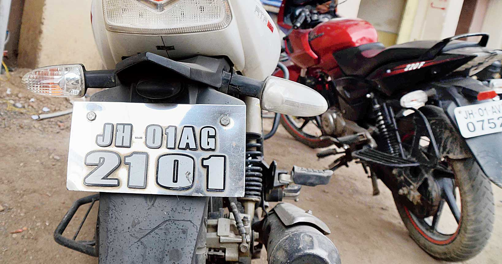 Fancy number plates on Main Road in Ranchi on Thursday.