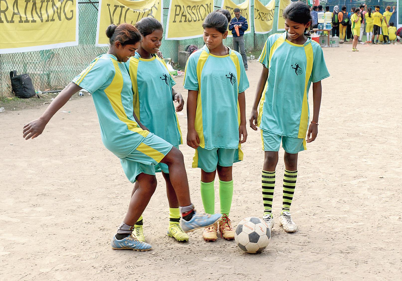 (From left) Sumita Hembram, Didimani Baske, Sihwanti Hansda and Arpita Murmu from Birbhum at the Punjab Club ground on Saturday.