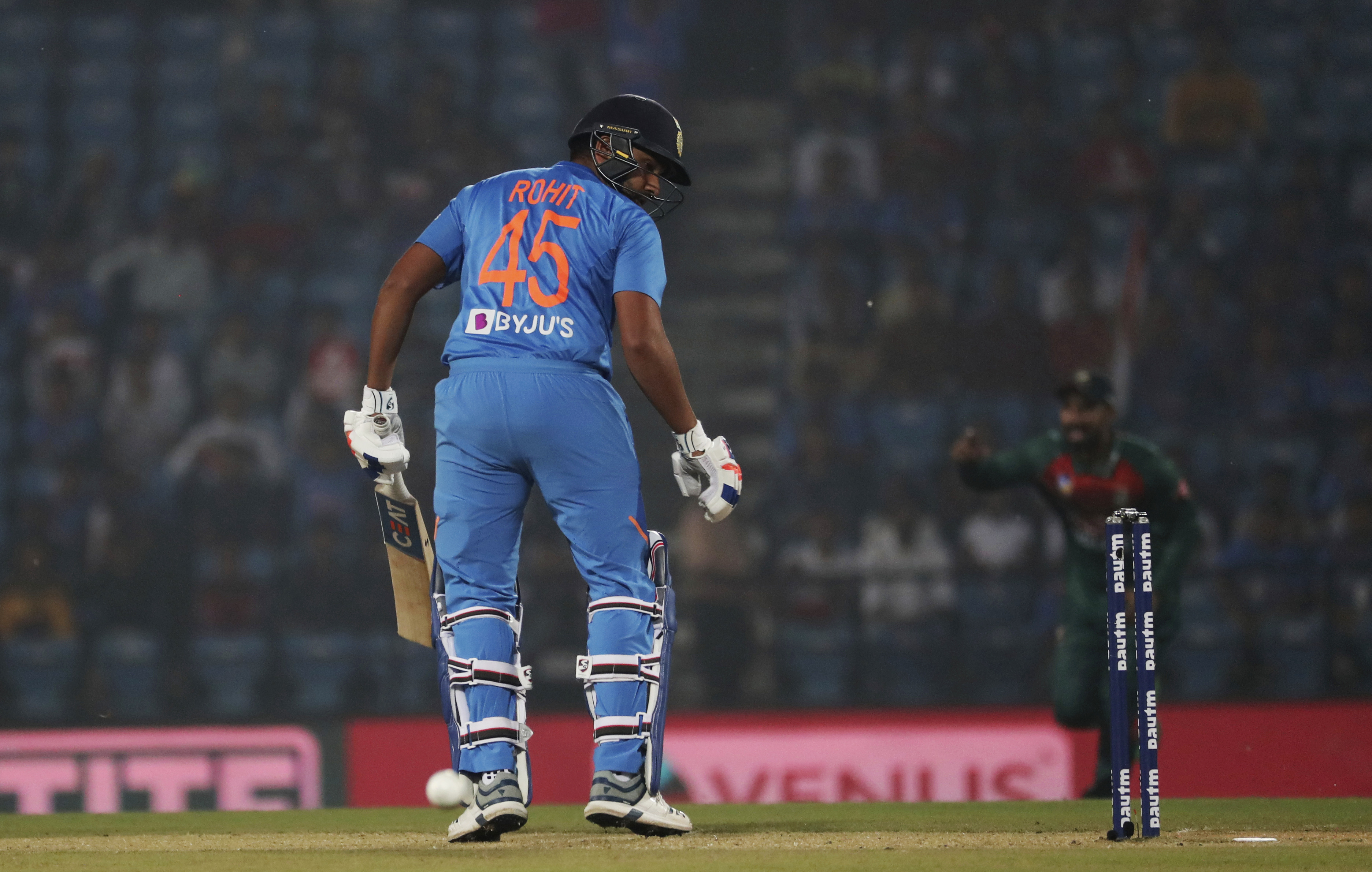 India's Rohit Sharma is bowled during third Twenty20 international cricket match against Bangladesh in Nagpur, India, Sunday, November 10, 2019