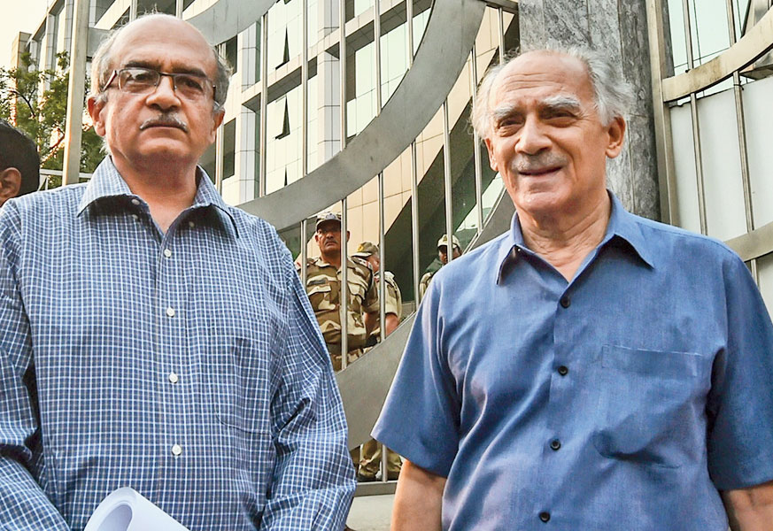 Bhushan (left), Shourie.