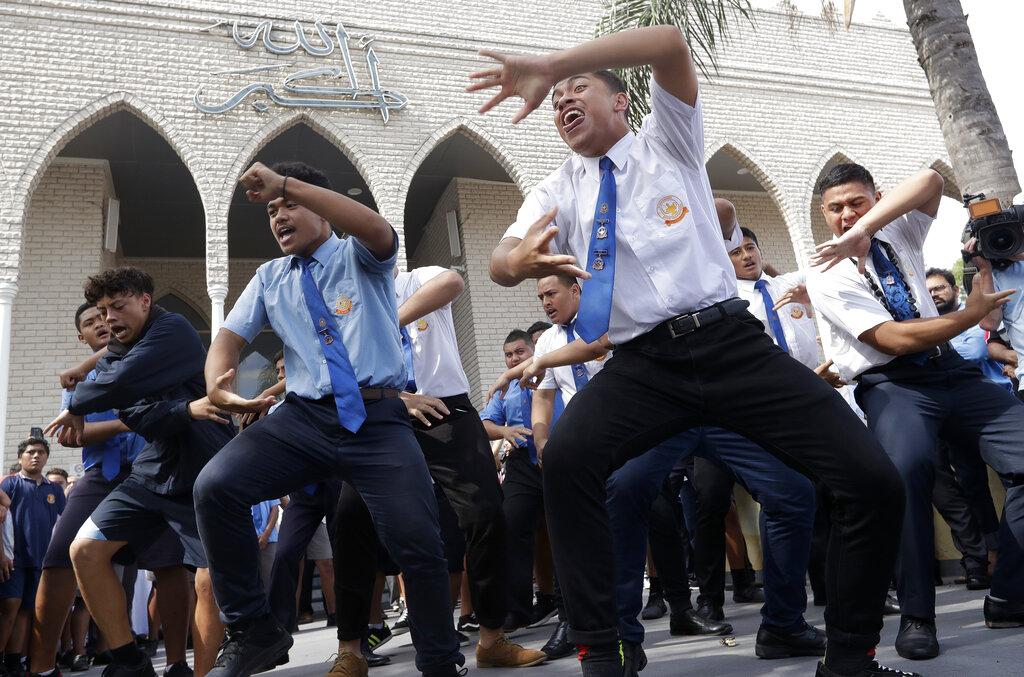 Students from Punchbowl Boys High School perform the haka after Friday prayers at Imam Ali bin Abi Taleb Mosque in Sydney, Australia.
