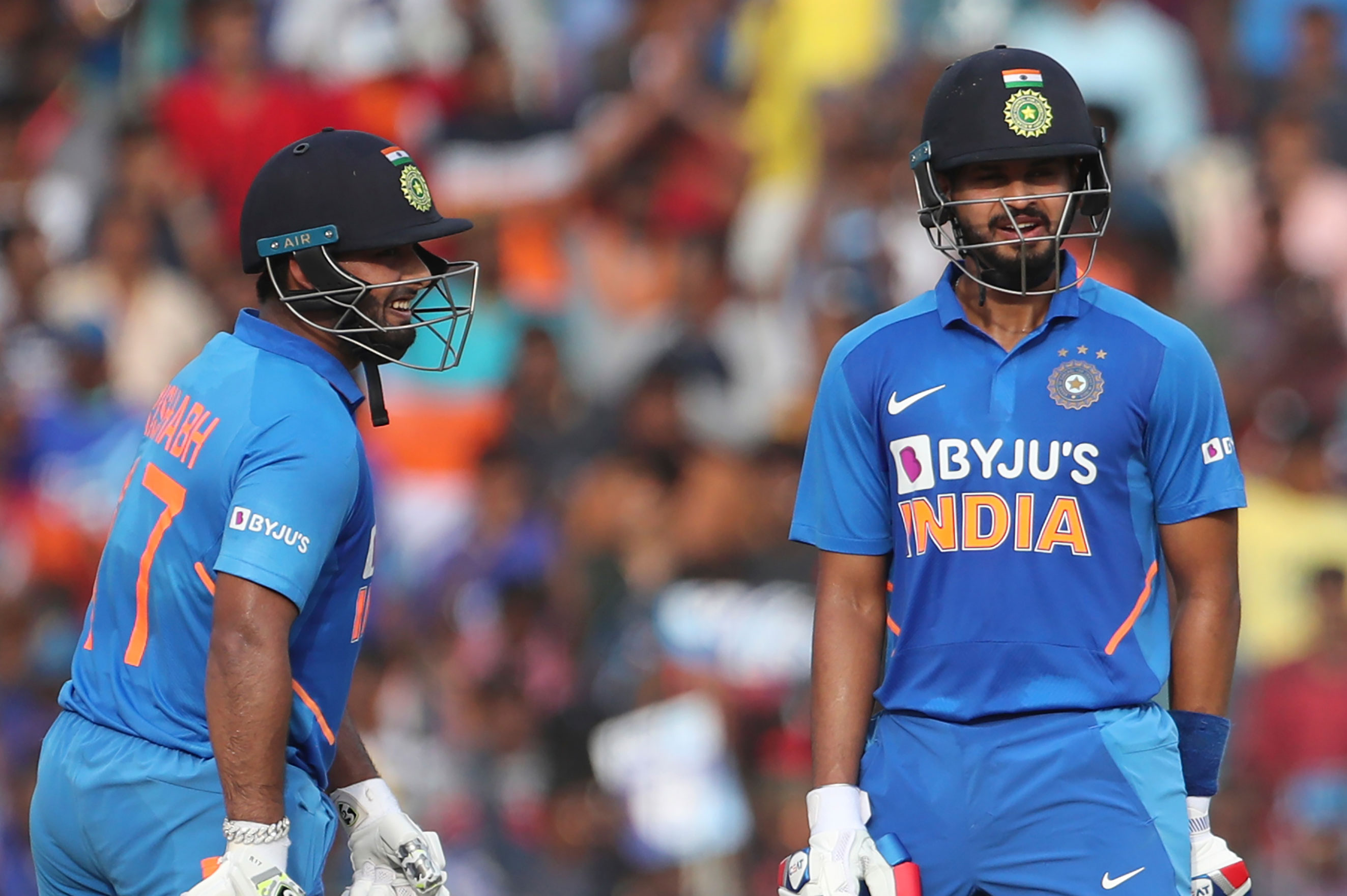 Shreyas Iyer (right) and Rishabh Pant during the first ODI against the West Indies in Chennai.