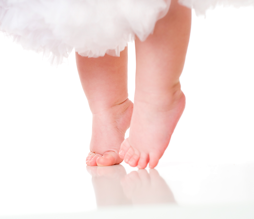 Children sometimes walk on their toes but this usually corrects itself by the age of three