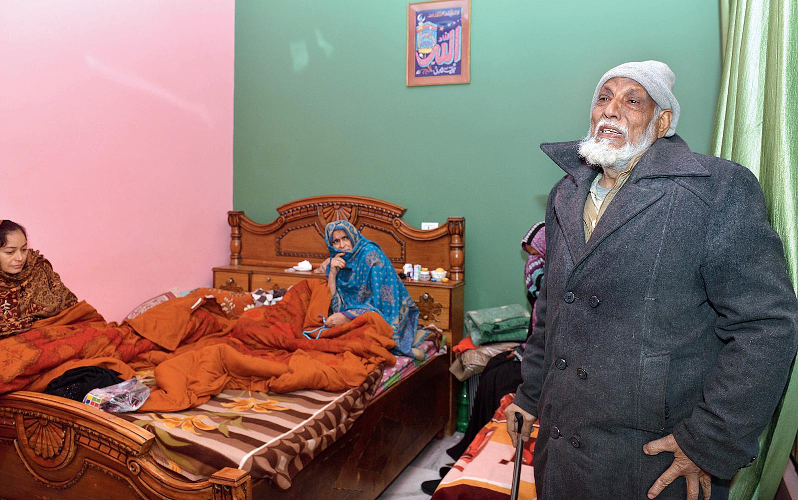 Haji Hamid Hasan, 72, breaks down at his Muzaffarnagar home.