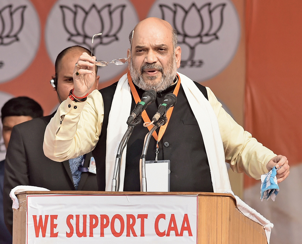 Union home minister Amit Shah during a rally in support of the CAA in Lucknow on  Tuesday