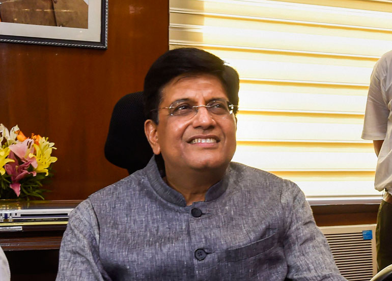 Piyush Goyal addresses the media after taking charge of the ministries of Railways and Commerce and Industry in New Delhi on May 31, 2019