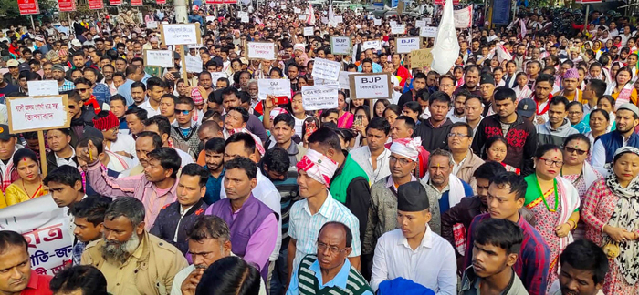 Protesters march during a rally against the Citizenship Amendment Act (CAA) in Assam
