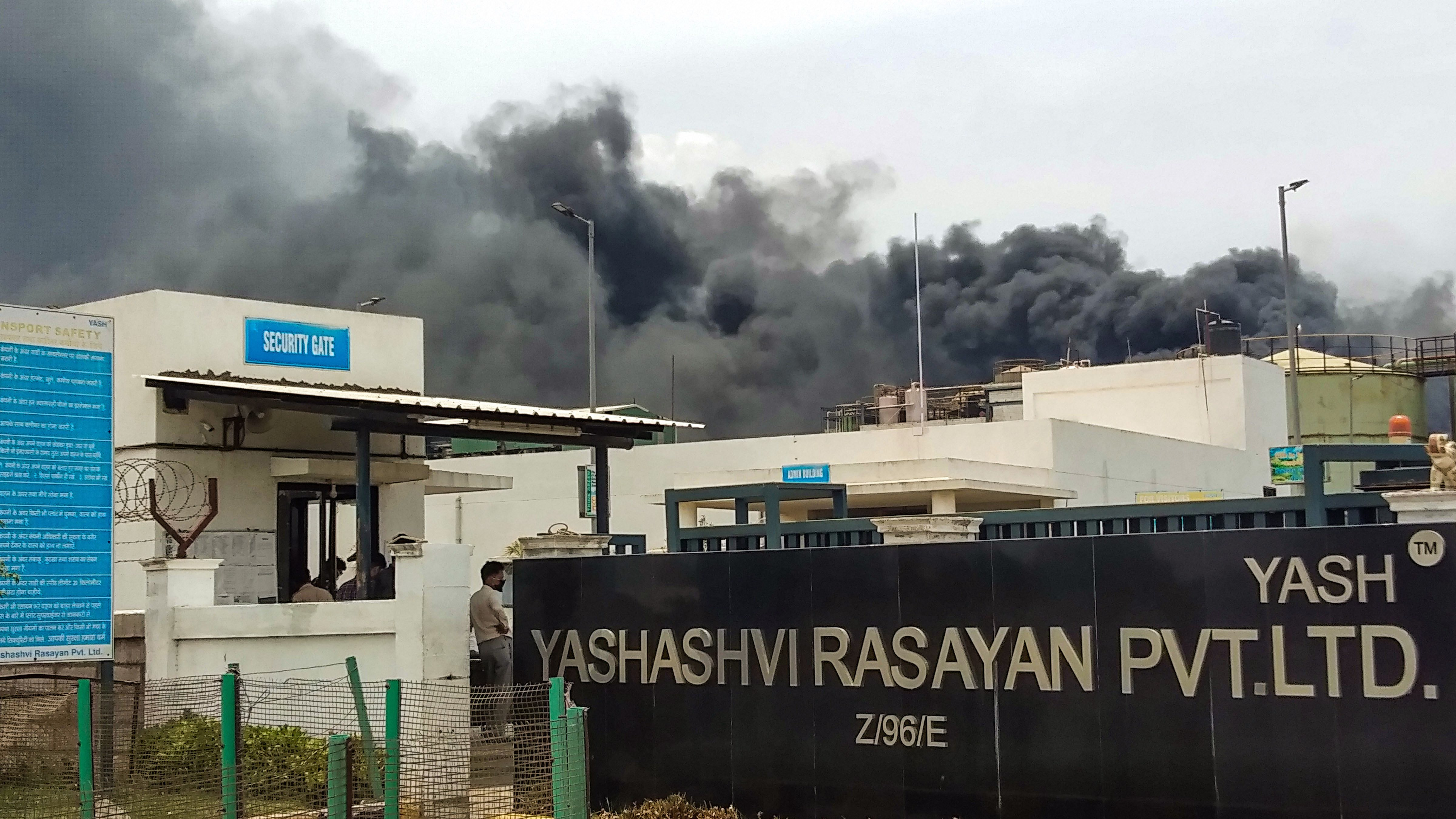 Plumes of smoke rise from the building of a chemical factory after a major fire broke out triggered due to a blast, at Dahej Industrial Estate in Bharuch district of Gujarat, Wednesday, June 3, 2020.
