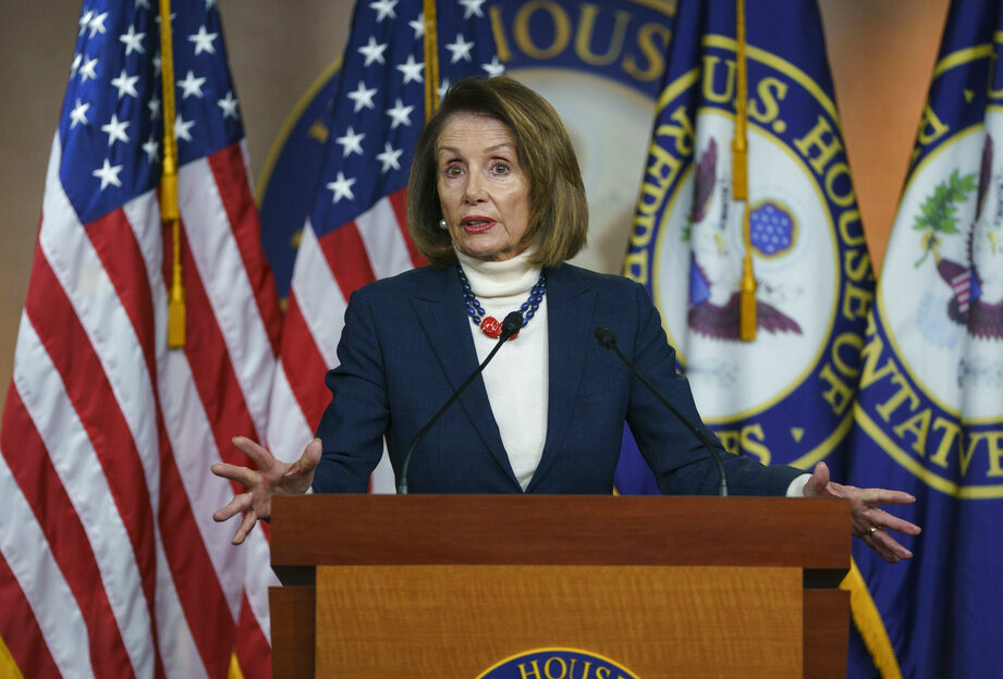 Nancy Pelosi speaks during a news conference on Capitol Hill in Washington on Thursday