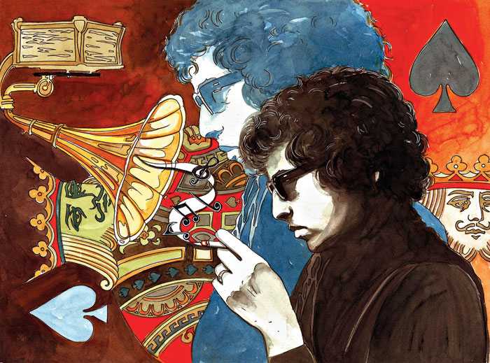 A Bob Dylan painting by Bibek Das that was used as a poster for the documentary