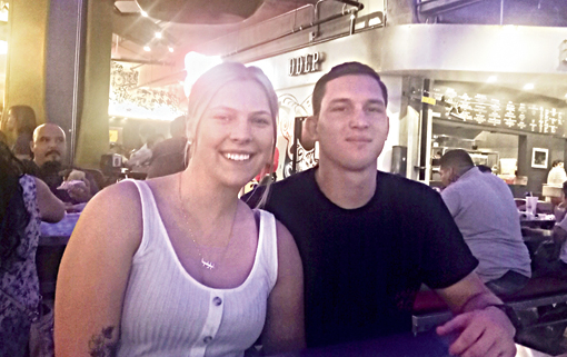 Kirby Tucker and her fiance Dylan Dixon at Food Lab, a food court in Riverside, California.
