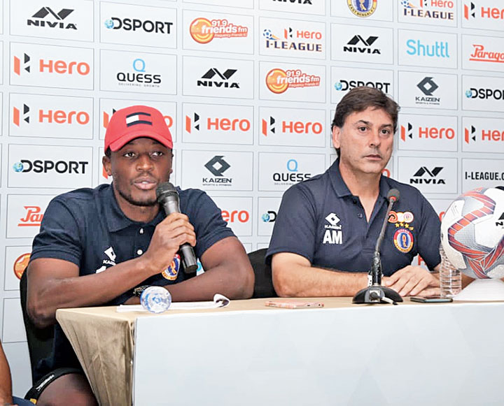East Bengal's Kassim Aidara (left) and coach Alejandro Menendez Garcia during a media conference on Monday
