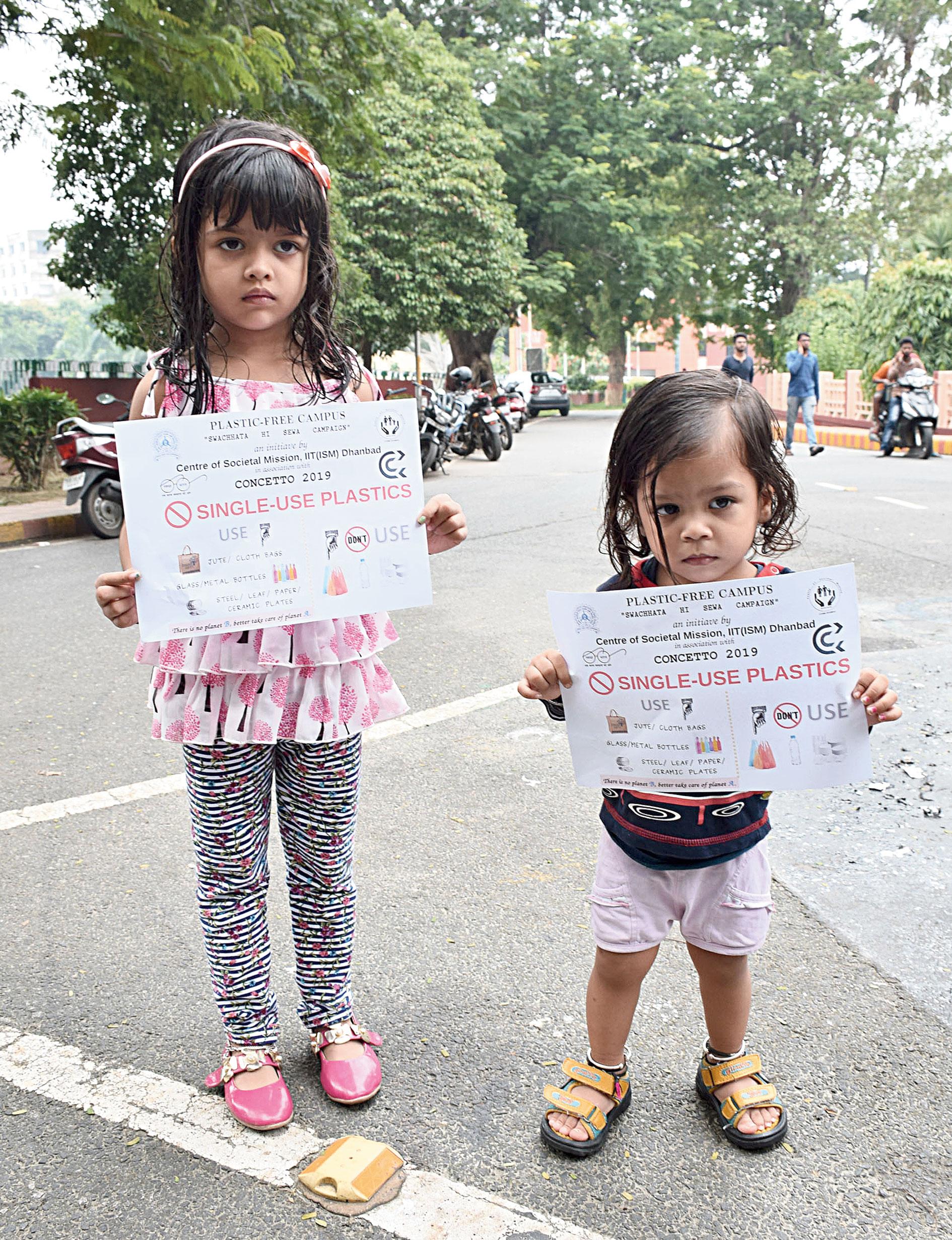 Kids display no-plastic message on Gandhi Jayanti on Wednesday in Dhanbad.