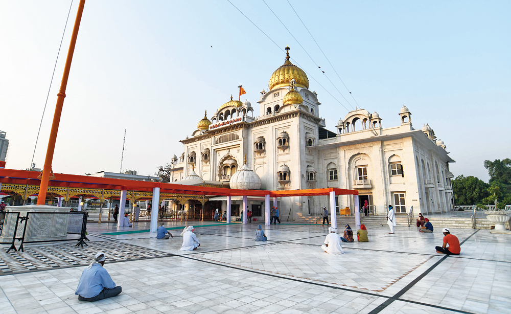 Devotees at Bangla Sahib Gurdwara in New Delhi on Monday, the day places of worship reopened after the lockdown.
