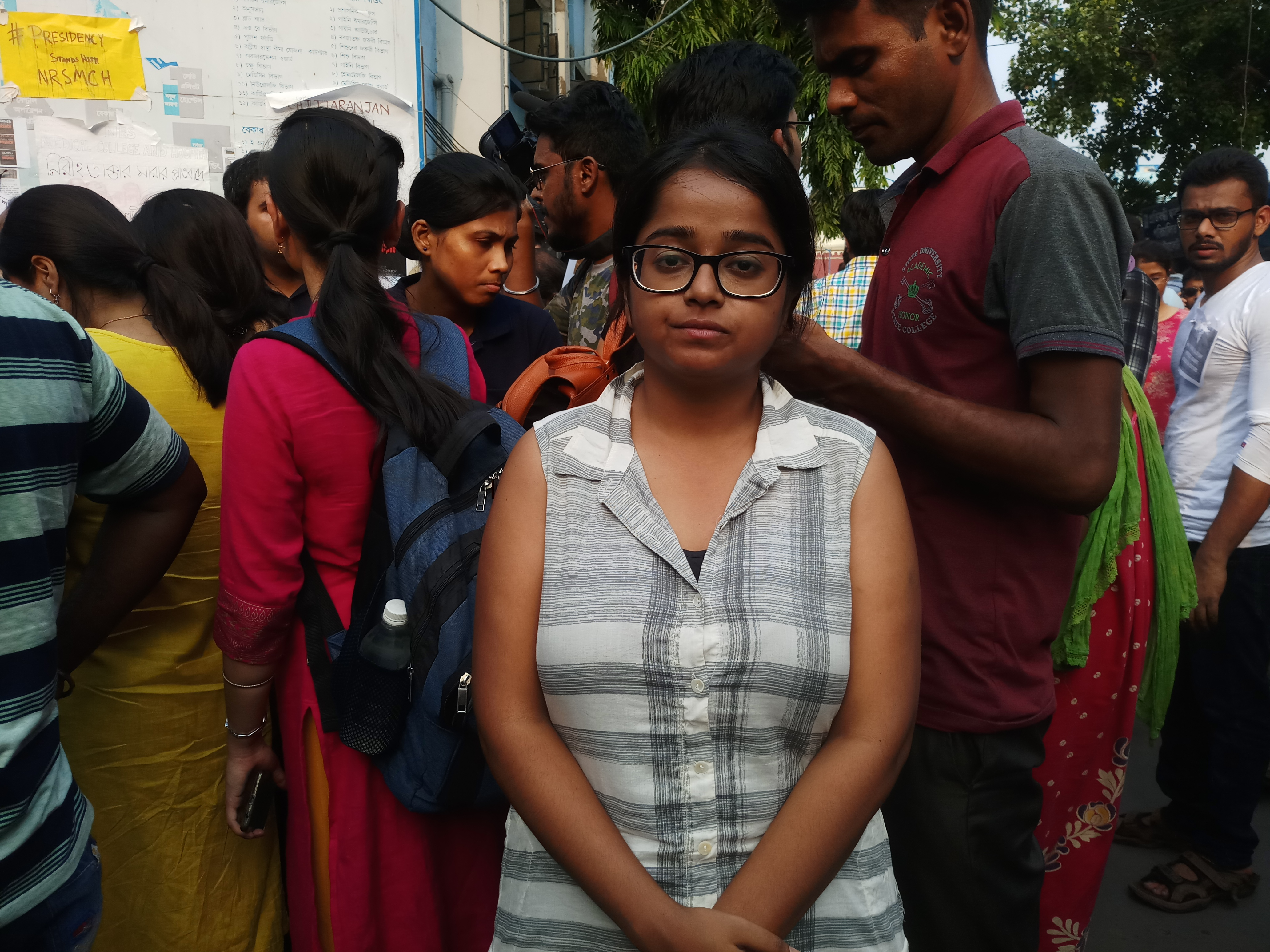 Junior doctor Sanchari Pal at the protest site