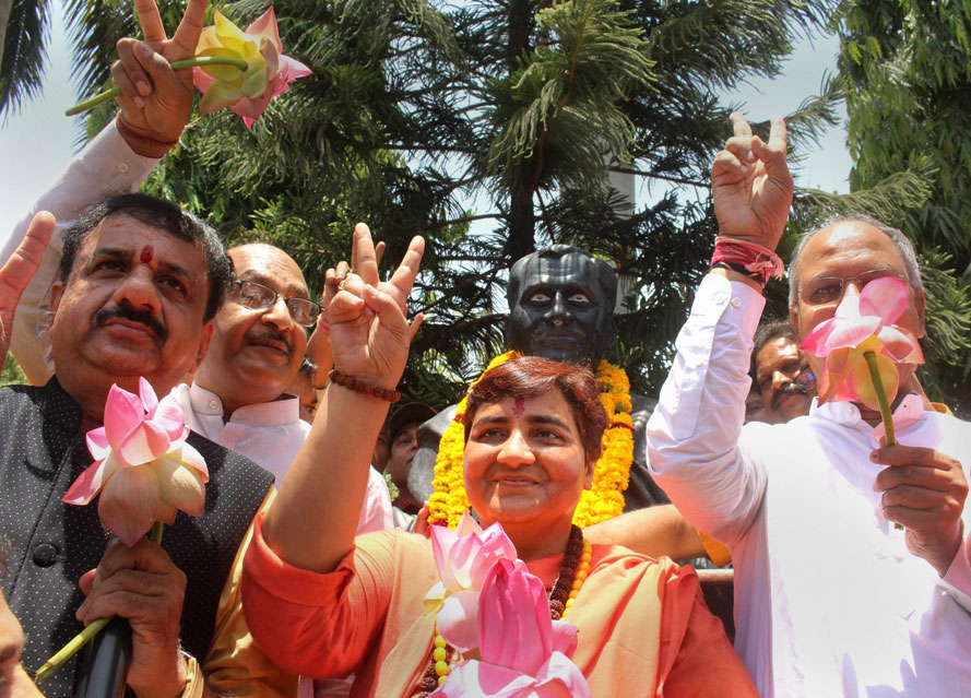 Newly-elected BJP MP from Bhopal, Pragya Singh Thakur, after her win in the Lok Sabha elections at BJP's state headquarters in Bhopal, on May 24, 2019. She has been charged with masterminding the Malegaon bombings of 2006, which claimed 40 lives.