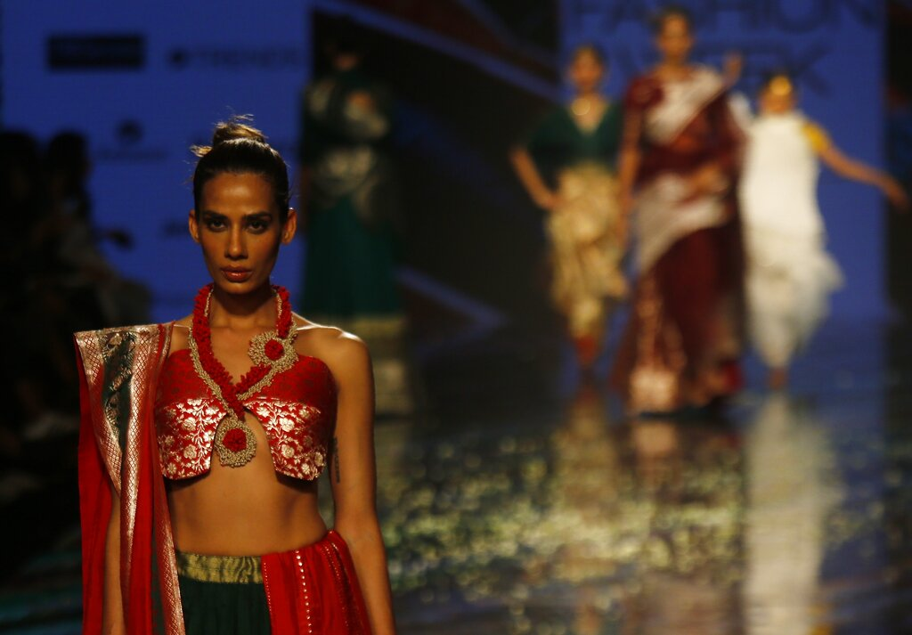 A model walks the ramp to showcase the creation of designer Vaishali S during the Lakme Fashion Week in Mumbai, on Wednesday