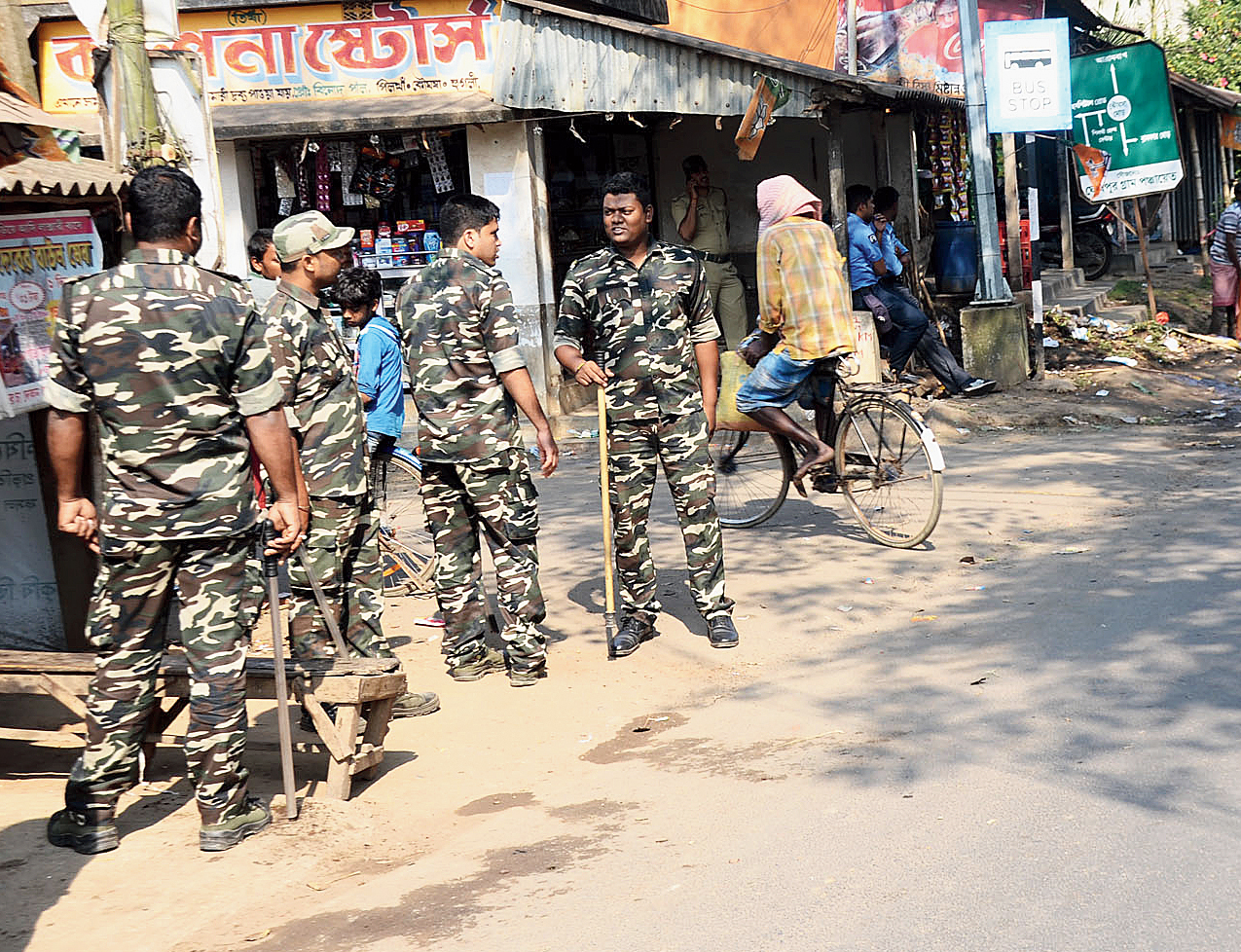 Police deployed at Khanakul in Hooghly after the violence.